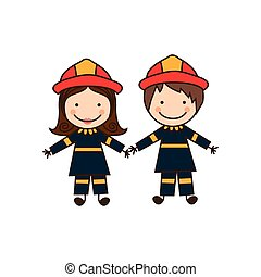 colorful caricature couple firefighters costume