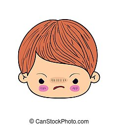 colorful caricature kawaii face little boy with facial expression angry