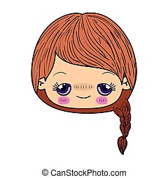colorful caricature kawaii face little girl with braided hair and embarrassed facial expression