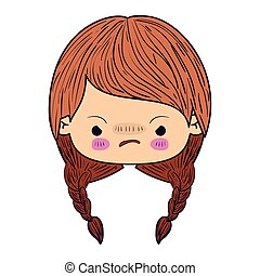 colorful caricature kawaii face little girl with braided hair and facial expression angry