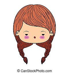 colorful caricature kawaii face little girl with braids hair and facial expression of boring