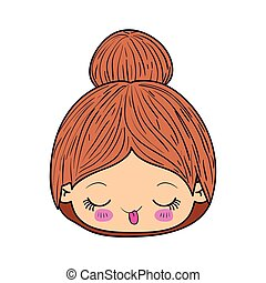 colorful caricature kawaii face little girl with collected hair and funny facial expression