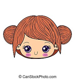 colorful caricature kawaii face little girl with collected hair cute expression