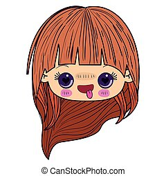 colorful caricature kawaii face little girl with long hair and facial expression enamored