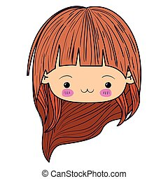colorful caricature kawaii face little girl with long wavy hair and facial expression exhausted