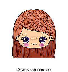 colorful caricature kawaii face little girl with straight hair and facial expression depressed
