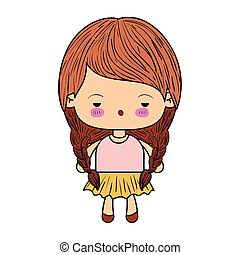 colorful caricature little girl with braids hair and facial expression of boring