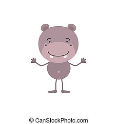 colorful caricature of cute hippopotamus happiness expression