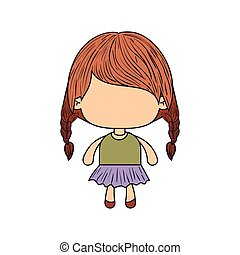 colorful caricature of faceless little girl with braided hair medium height