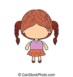 colorful caricature of faceless little girl with braided hair
