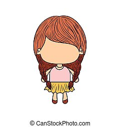 colorful caricature of faceless little girl with pigtails hair and braided