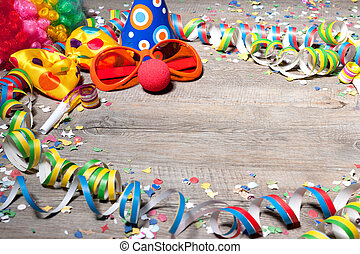 Colorful carnival background with garlands, streamer, party ...