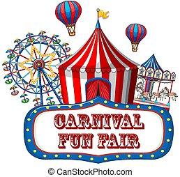 Colorful carnival funfair banner