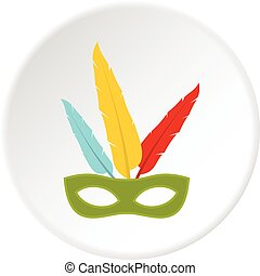 Colorful carnival mask icon circle