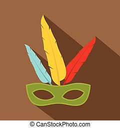 Colorful carnival mask icon, flat style