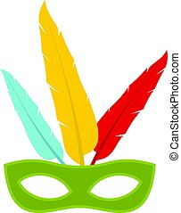 Colorful carnival mask icon isolated
