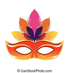 colorful carnival mask with feathers icon