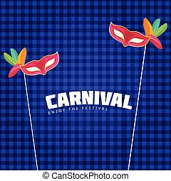 colorful carnival masks with white typography on blue and purple cheque background