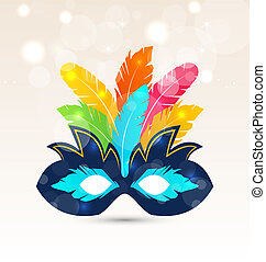 Colorful carnival or theater mask with feathers
