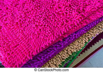 colorful carpet softness texture of doormat, close-up image