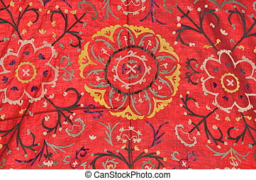 Colorful carpet with floral pattern