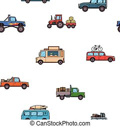 Colorful cars and trucks seamless pattern. Vehicles, side view. White background. Vector illustration. Flat style.