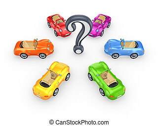 Colorful cars around query mark. Isolated on white background.3d rendered.