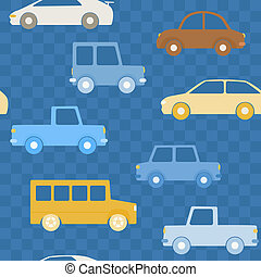 Colorful cars seamless pattern
