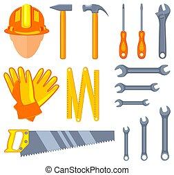 Colorful cartoon 15 handyman tools set