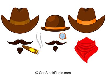 Colorful cartoon 3 cowboy avatars