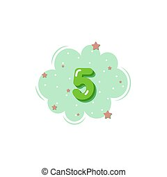 Colorful cartoon 5 numbers for kids, for greeting cards.Vector illustration.