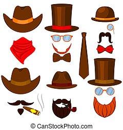 Colorful cartoon 6 western man avatars set