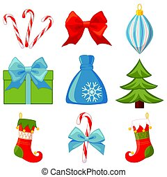 Colorful cartoon 9 christmas elements set
