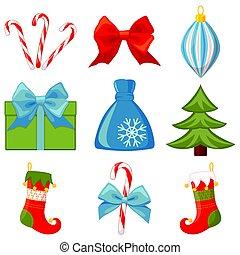 Colorful cartoon 9 christmas elements set