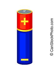 Colorful cartoon AA type battery. Rechargeable electric...
