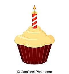 Colorful cartoon birthday cupcake