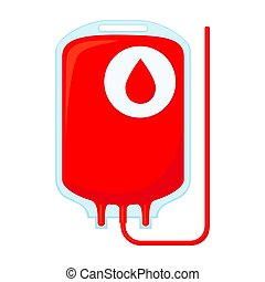 Colorful cartoon blood donation bag isolated on white...
