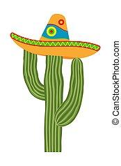 Colorful cartoon cactus in sombrero hat