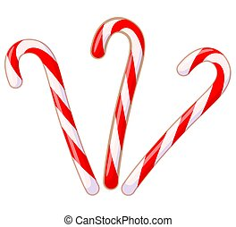 Colorful cartoon candy cane set