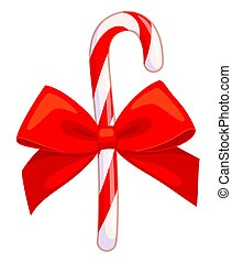 Colorful cartoon candy cane with red bow