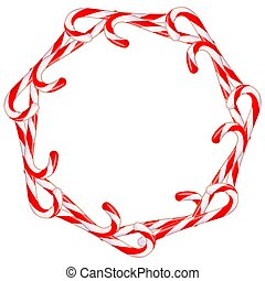 Colorful cartoon candy cane wreath