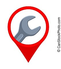 Colorful cartoon car repair service location marker