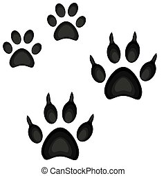 Colorful cartoon cat dog paw footprint icon set poster.