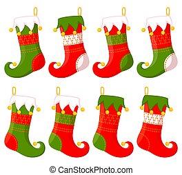 Colorful cartoon christmas stocking set
