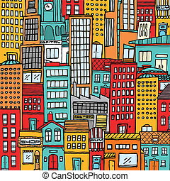 Colorful cartoon city texture background