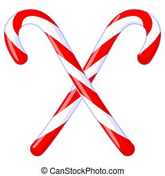Colorful cartoon crossed candy cane