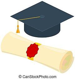 Colorful cartoon diploma scroll graduation hat set