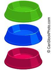 Colorful cartoon empty pet food bowl set.