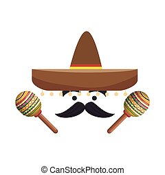 colorful cartoon face with maraca and mexican hat