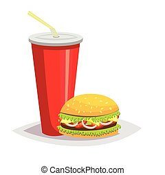 Colorful cartoon fast food icon on white background. Drink with a hamburger.